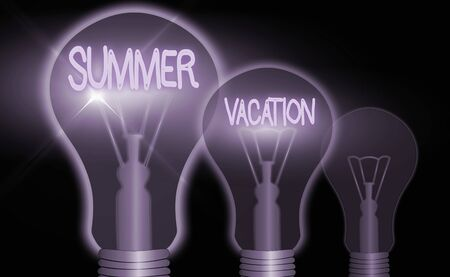 Handwriting text writing Summer Vacation. Conceptual photo several short trips which take place on the hottest season Stok Fotoğraf