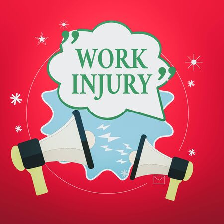 Handwriting text Work Injury. Conceptual photo an accident occurred as a result of labor resulting to an damage Blank Speech Bubble with Quotation Mark Two Megaphones shouting and Arguing