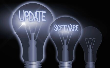 Handwriting text writing Update Software. Conceptual photo an application patch fixing the previouslyfound bugs