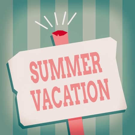 Word writing text Summer Vacation. Business photo showcasing several short trips which take place on the hottest season Blank Old Weathered Signpost Geometrical Shape Halftone with One stand