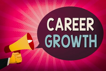Writing note showing Career Growth. Business concept for Development Ambitions Attainment Motivation Progress in company Hu analysis Hand Holding Megaphone and Oval Speech Bubble