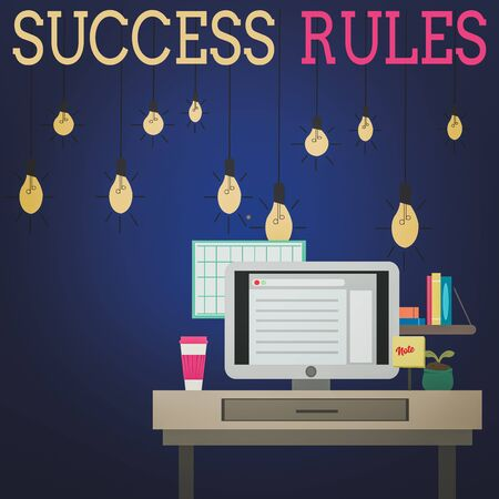 Word writing text Success Rules. Business photo showcasing established ways of setting goals making it easier to achieve photo of Interior Working Space Station Concept of Technical Person