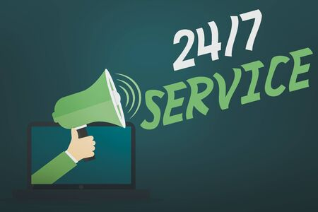 Word writing text 24 Or7 Service. Business photo showcasing providing an assistance that is available all the time Hu analysis Hand Coming out of PC Monitor Holding Megaphone with Volume Icon