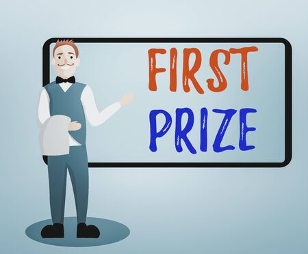 Conceptual hand writing showing First Prize. Concept meaning most coveted prize that is only offered to the overall winner Male Waiter Standing in Uniform Hand Presenting Menu Board