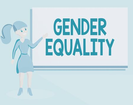 Word writing text Gender Equality. Business photo showcasing access to same privilege given to both men and women Wo analysis Standing Talking Hand Presenting Audio Visual Projector Screen