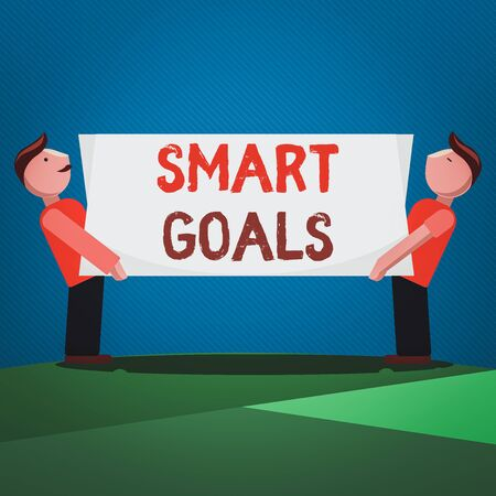 Handwriting text Smart Goals. Conceptual photo mnemonic used as a basis for setting objectives and direction Two Men Standing Carrying Rectangular Blank Panel Board on Both Sides