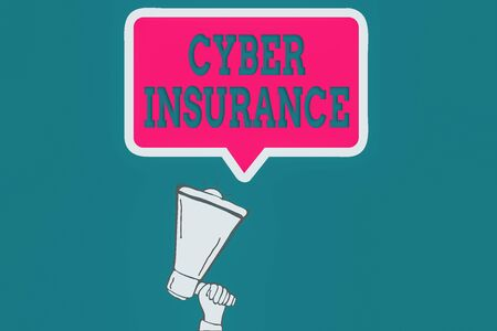 Handwriting text Cyber Insurance. Conceptual photo exclusive plan to protect the company from Internetbased risk Hu analysis Hand Holding Upward Megaphone and Blank Speech Bubble with Border