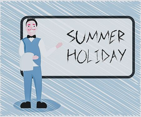 Text sign showing Summer Holiday. Business photo showcasing special period of time in summer for relaxation and fun Male Waiter Smiling Standing in Uniform Hand Presenting Blank Menu Board