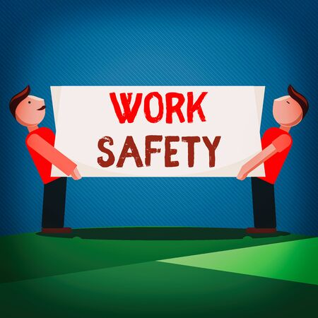 Handwriting text Work Safety. Conceptual photo preventive measures applied by firms to protect workers health Two Men Standing Carrying Rectangular Blank Panel Board on Both Sides