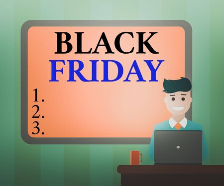 Handwriting text Black Friday. Conceptual photo a day where seller mark their prices down exclusively for buyer Blank Bordered Board behind Man Sitting Smiling with Laptop Mug on Desk