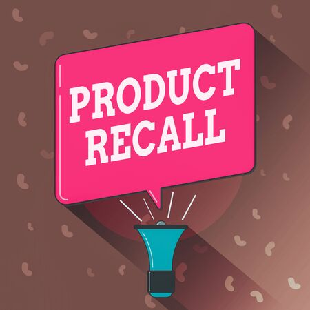 Conceptual hand writing showing Product Recall. Concept meaning request to return the possible product issues to the market Megaphone Louder Handheld Amplifier and Blank Speech Bubble