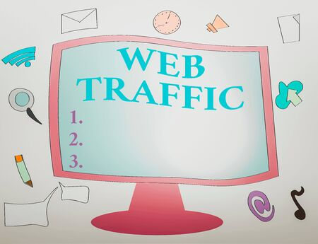 Writing note showing Web Traffic. Business concept for amount of web users and attempted visit measured of a website Web Application Software icons Surrounding Computer Monitor Stock fotó