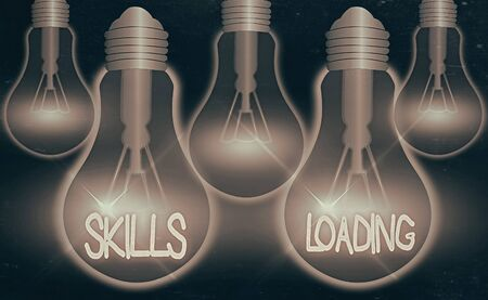 Writing note showing Skills Loading. Business concept for points out the degree of difficulty when performing a task