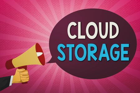 Writing note showing Cloud Storage. Business concept for computing connect devices to cloud data on remote storage Hu analysis Hand Holding Megaphone and Oval Speech Bubble Foto de archivo