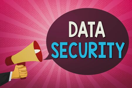 Writing note showing Data Security. Business concept for Protected important an individualal data from unauthorized access Hu analysis Hand Holding Megaphone and Oval Speech Bubble Reklamní fotografie