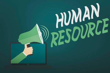Word writing text Human Resource. Business photo showcasing a critical department handling the staffing and employees concern Hu analysis Hand Coming out of PC Monitor Holding Megaphone with Volume Icon