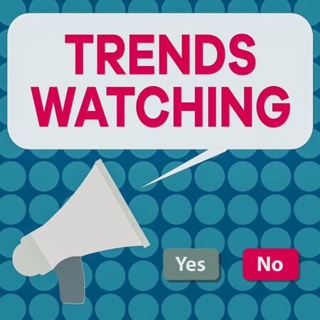 Word writing text Trends Watching. Business photo showcasing a business firm that usually engages and dominates the market Selection Button Green Yes and Red No with Blank Speech Bubble Megaphone Banco de Imagens