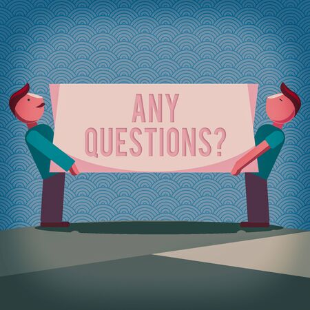 Handwriting text writing Any Questions Question. Conceptual photo Allowing any interrogative statement from a group of Two Men Standing Carrying Rectangular Blank Panel Board on Both Sides