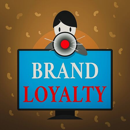 Conceptual hand writing showing Brand Loyalty. Concept meaning positive feelings to a brand and purchase the same product Man Behind mounted PC Monitor Talking and Holding Megaphone