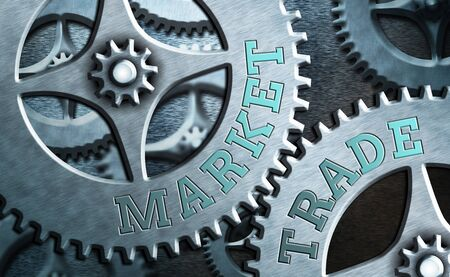 Text sign showing Market Trade. Business photo showcasing forex trading graph of financial investment or Economic trends business