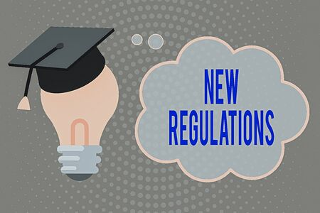 Handwriting text writing New Regulations. Conceptual photo latest established laws enforced by government or authority 3D Graduation Cap Thinking Resting on Bulb with Blank Cloud Thought Bubble