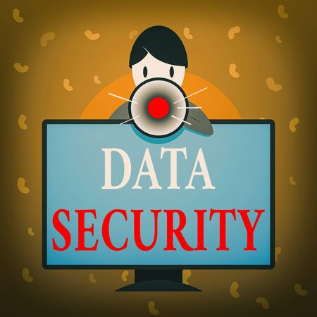 Conceptual hand writing showing Data Security. Concept meaning Protected important an individualal data from unauthorized access Man Behind mounted PC Monitor Talking and Holding Megaphone Zdjęcie Seryjne