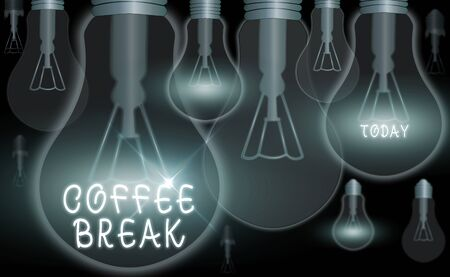 Text sign showing Coffee Break. Business photo text short time allotted for drinking coffee without doing any work Zdjęcie Seryjne