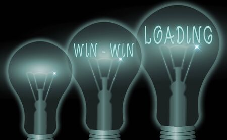 Text sign showing Win win Loading. Business photo showcasing advantageous or satisfactory to all parties involved