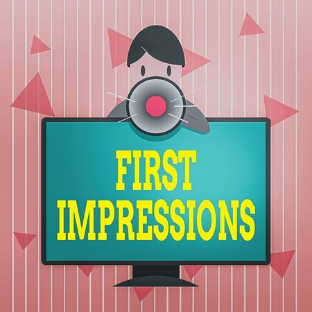 Handwriting text First Impressions. Conceptual photo events when one an individual encounters another an individual Man Standing Behind mounted PC Monitor Screen Talking and Holding Megaphone