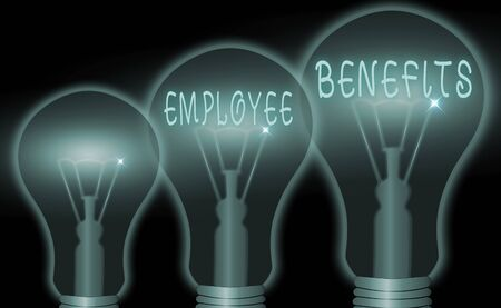 Text sign showing Employee Benefits. Business photo showcasing form of compensation paid by employers to workers