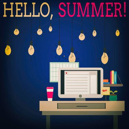 Word writing text Hello, Summer. Business photo showcasing greeting used when the hot season of the year is experienced photo of Interior Working Space Station Concept of Technical Person 版權商用圖片