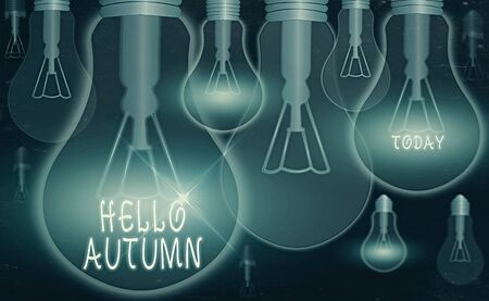 Text sign showing Hello Autumn. Business photo text that weather begins to get colder and trees shed their leaves