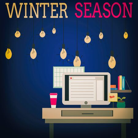 Word writing text Winter Season. Business photo showcasing coldest season of the year marked by a big drop in temperature photo of Interior Working Space Station Concept of Technical Person Zdjęcie Seryjne