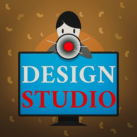 Conceptual hand writing showing Design Studio. Concept meaning work environment specifically for designers and artisans Man Behind mounted PC Monitor Talking and Holding Megaphone