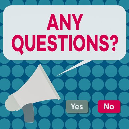 Word writing text Any Questions Question. Business photo showcasing Allowing any interrogative statement from a group of Selection Button Green Yes and Red No with Blank Speech Bubble Megaphone Banque d'images