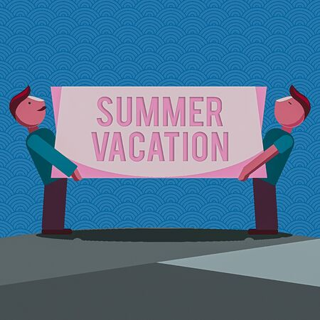 Handwriting text writing Summer Vacation. Conceptual photo several short trips which take place on the hottest season Two Men Standing Carrying Rectangular Blank Panel Board on Both Sides Stok Fotoğraf