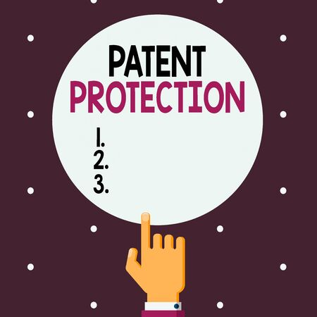 Word writing text Patent Protection. Business photo showcasing provides an individual or legal entity with exclusive rights Male Hu analysis Hand Pointing up Index finger Touching Solid Color Circle