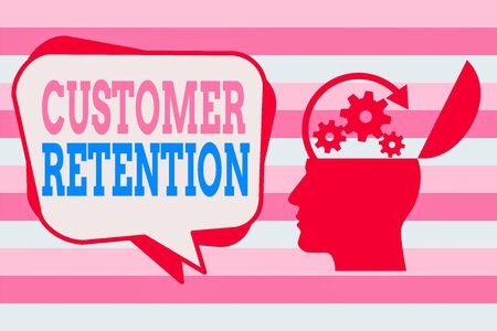 Text sign showing Customer Retention. Business photo showcasing activities companies take to reduce user defections Hu analysis Head Silhouette Topside Open with Gears and Blank Halftone Bubble