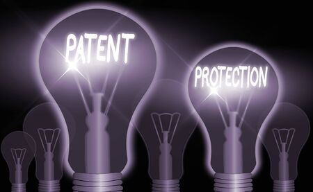 Word writing text Patent Protection. Business photo showcasing provides an individual or legal entity with exclusive rights Archivio Fotografico