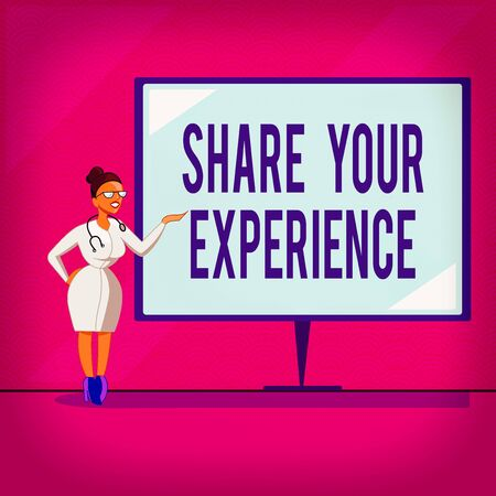 Conceptual hand writing showing Share Your Experience. Concept meaning tell us your story including ideas and feelings run into Doctor with Stethoscope Hand Presenting Blank Whiteboard Stock Photo