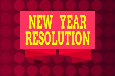 Word writing text New Year Resolution. Business photo showcasing listing of goals and change with determination Ribbon Sash Folded and Pleated Decorative Banner Strip corrugated Riband