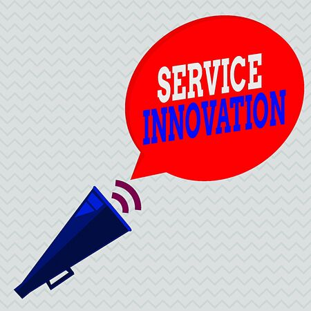 Conceptual hand writing showing Service Innovation. Concept meaning changing the way you serve customers for greater value Piped Megaphone with Sound Effect and Halftone Speech Bubble