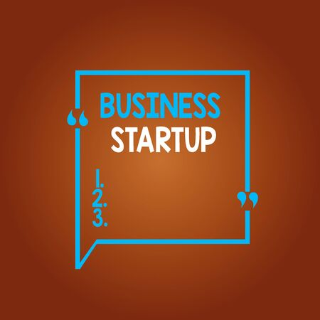Conceptual hand writing showing Business Startup. Concept meaning during the first stage of launching commerce operations Square Border Outline with Bubble Quotation Mark Punctuation Stok Fotoğraf