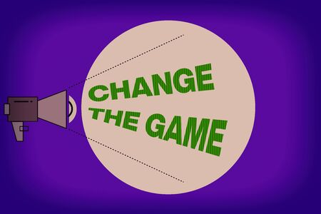 Text sign showing Change The Game. Business photo showcasing adjustment in coarse strategy planning process etc Megaphone with Pitch Power Level Volume Sound Icon and Blank Circle