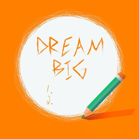 Writing note showing Dream Big. Business concept for positive attitude to motivate oneself to pursue and accomplish higher goals Scribbling of circular lines Using Pencil White Solid Circle 版權商用圖片