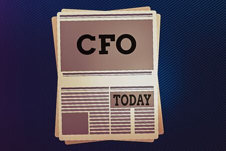 Word writing text Cfo. Business photo showcasing chief financial officer managing the financial actions of company Newspaper Page Layout with Blank Headlines Article and column Format