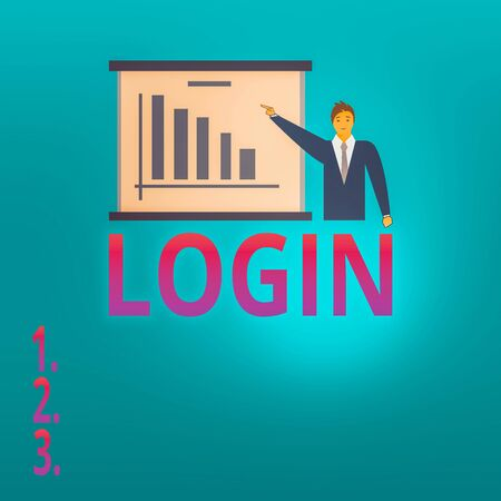 Conceptual hand writing showing Login. Concept meaning process by which an individual gains access to a computer system Man in Business Suit Pointing a Board Bar Chart Copy Space
