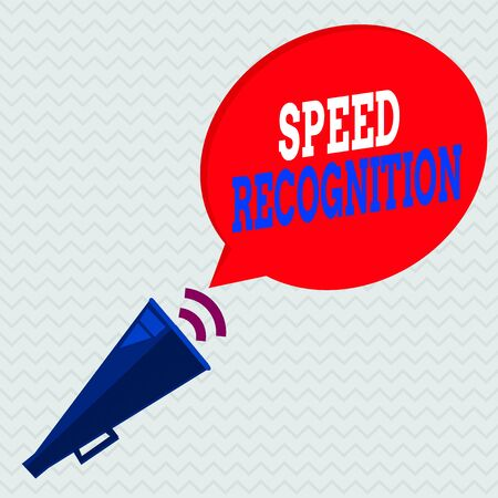 Conceptual hand writing showing Speed Recognition. Concept meaning interdisciplinary subfield of computational linguistics Piped Megaphone with Sound Effect and Halftone Speech Bubble