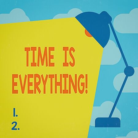 Text sign showing Time Is Everything. Business photo text significance of time greatly influence the outcome of an event Table Pendant Lampshade Adjustable with Light Beam Ray space for Text