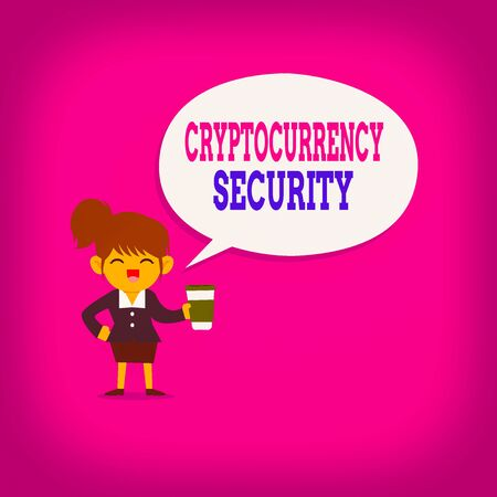 Writing note showing Cryptocurrency Security. Business concept for prevent unauthorized digital money transactions Female Hu analysis Wearing Uniform coffee Cup Speech Bubble